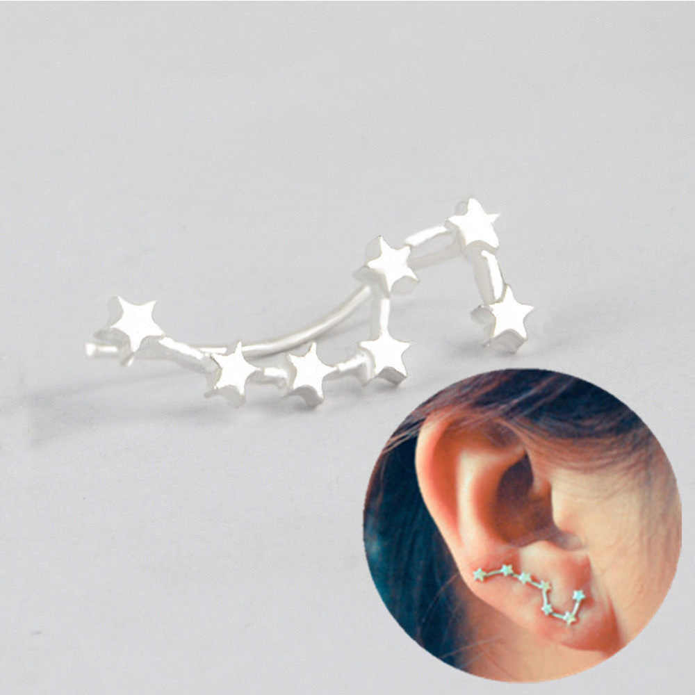 Trendy  Big Dipper Constellation Ear Pin Stud Earrings Sweep Climber Cuff Earrings Jewelry Ornament