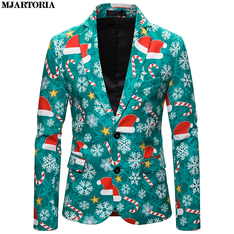 MJARTORIA Blazer Men Christmas Suit Jacket Costume New 2019 Mens Printing Slim Fit Blazer Stylish Coat Halloween Wild Tops Coats