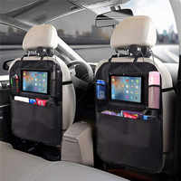 Huihom pu leather car seat back organizer storage bag big pocket backseat kick protector automobile stowing tidying accessories