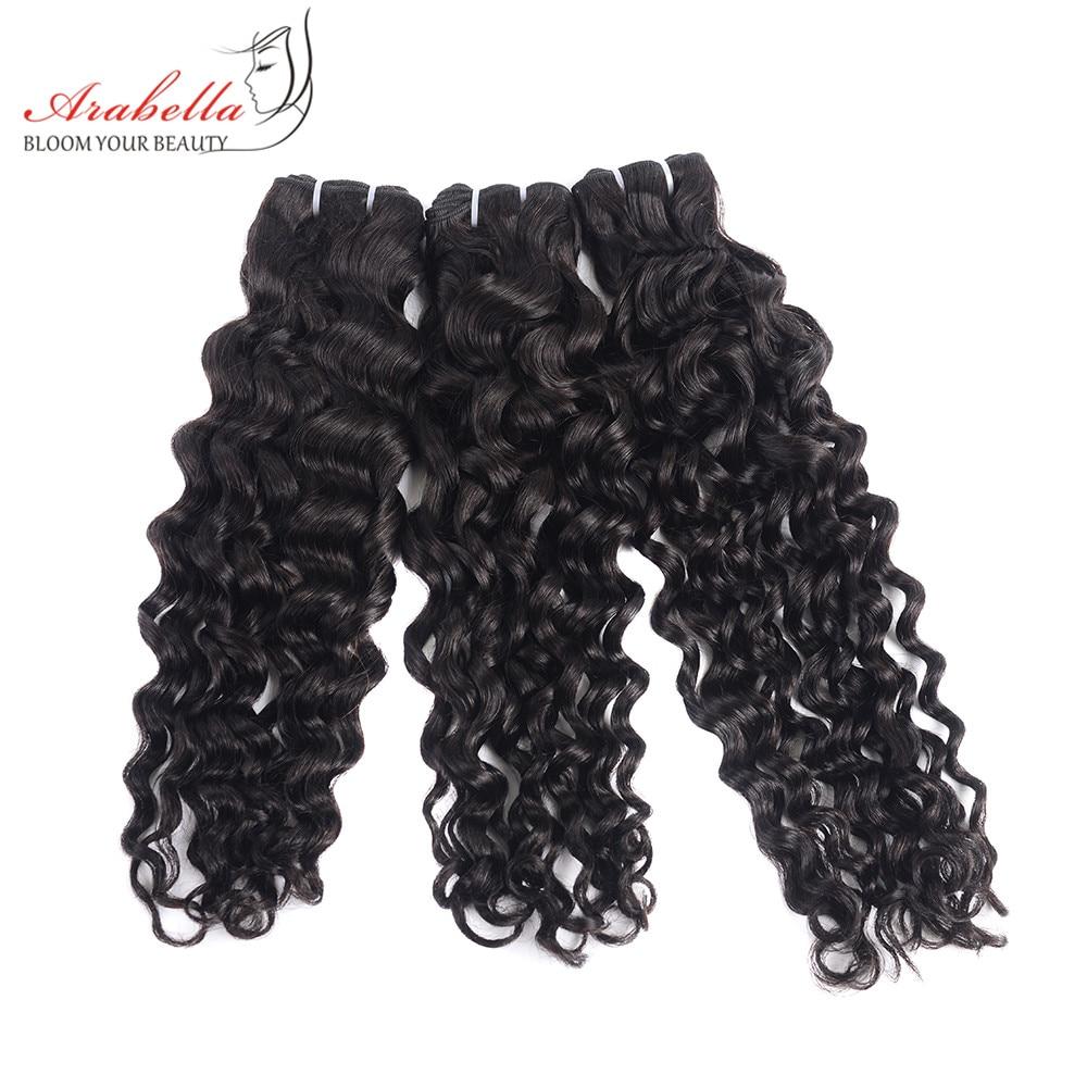 Super Double Drawn Water Wave Hair Bundles With Closure Pre Plucked Bleached Knots Arabella Virgin Hair  Bundles 4
