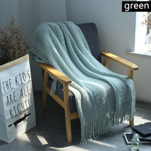 American Blanket Wool Woven Mesh Tassel Sofa Blanket Air Conditioning Blanket Sofa Plaid Photography Props Decorative Blanket