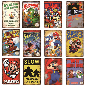 Caution Video Games Angry Games Decor Metal Poster Super Mario Series Vintage Tin Sign Gaming Plaque