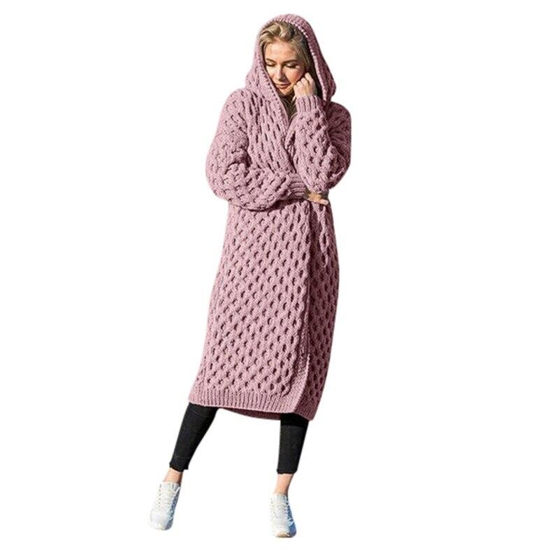 Vertvie Женский вязаный кардиган, зимний толстый теплый длинный кардиган с капюшоном, Женский винтажный свитер с длинным рукавом, верхняя одеж...