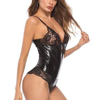 New Black Women Bodysuits Lingerie Plus Size XXXXL Lace Leather Sexy Siamese Sexy Underwear Sleepwear Seamless Teddies Latex 3