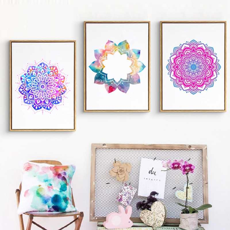 Abstract Watercolor Home Decoration Mandala Ornament Yoga Poster Vintage Art Canvas Painting Bedroom Decor Wall Picture No Frame