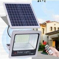 1pc IP65 120W LED Solar Panel Floodlight Waterproof Outdoor Indoor Garden Courtyard Lights Intelligent Wall Lamp Remote Control