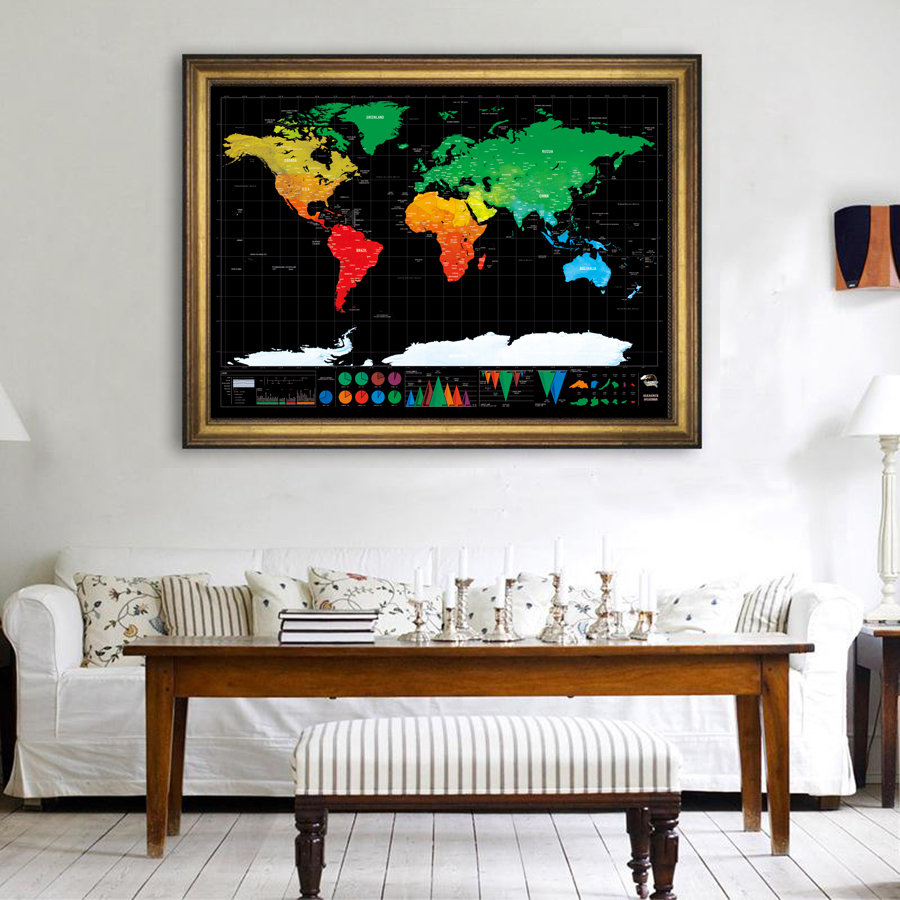 Black Deluxe Erase World Travel Map Scratch Off World Map Travel Scratch For Map Gifts Room Home Office Decoration Wall Stickers
