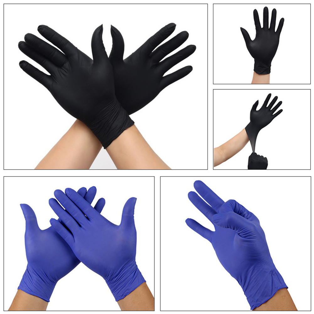 100 Pieces Disposable Nitrile Gloves, Non-Toxic, Food Safe, Allergy Free For Food Beauty Household Medical Industrial