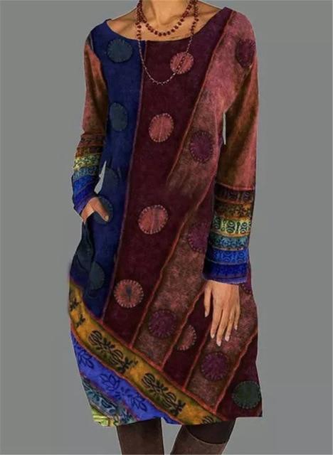 2021 Autumn Winter Women Loose Dots Pocket Vintage Printed Dress Full Long Sleeve Cotton Party Dresses Plus Sizes 2