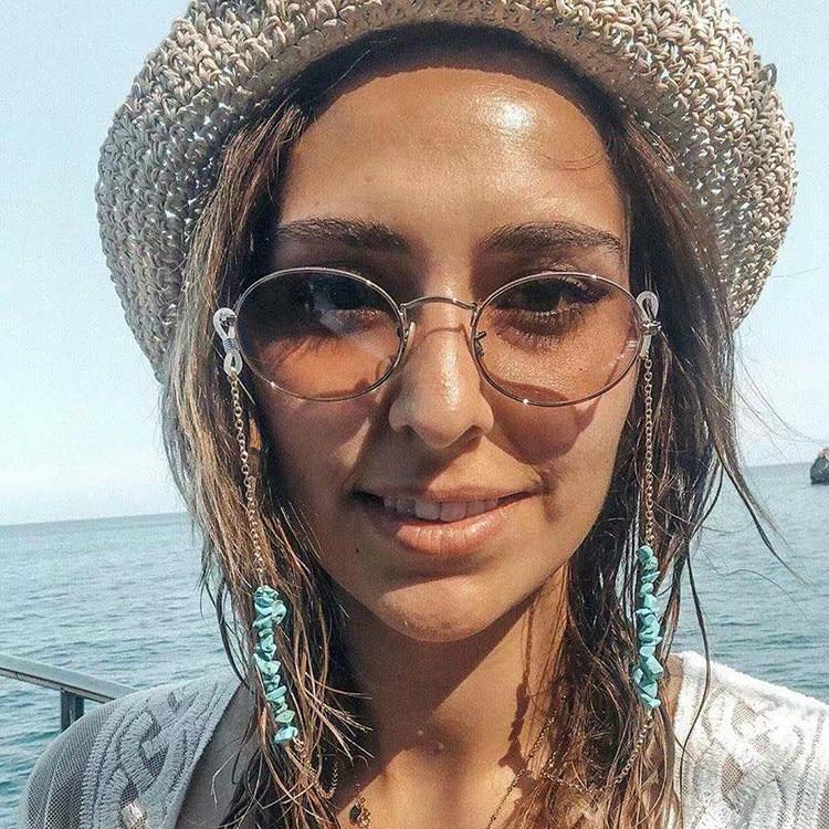 Fashion Irregular Blue Stone Beads Charm Sunglasses Lanyard Strap Necklace Eyeglass Glasses  Chain Cord For Reading Glasses