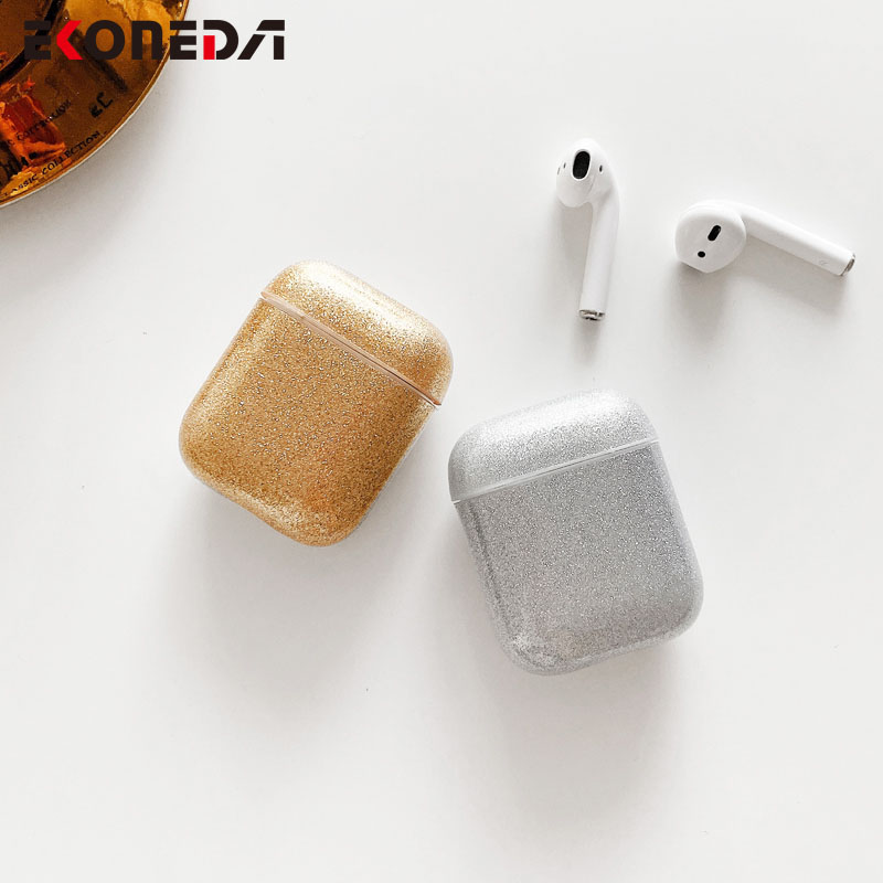 EKONEDA Luxury Bling Glitter Earphone Case For Airpods 2 Girl Protective Cover For Airpods Case