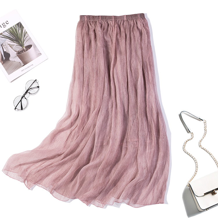 Women's 100% Pure Silk Pink Maxi Skirt Floral Two-Layer Pleated Long Skirt Summer Beach JN161