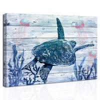 Bathroom Wall Art Decor Framed Sea Turtle Canvas Pictures Ocean Animal Jellyfish Artwork Coral Wall Art Painting for Living Room