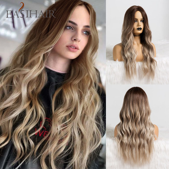 цена на EASIHAIR Long Brown Ombre Synthetic Wigs Natural Hair Wigs for Women High Temperature Fiber Wave Daily Cosplay Wigs