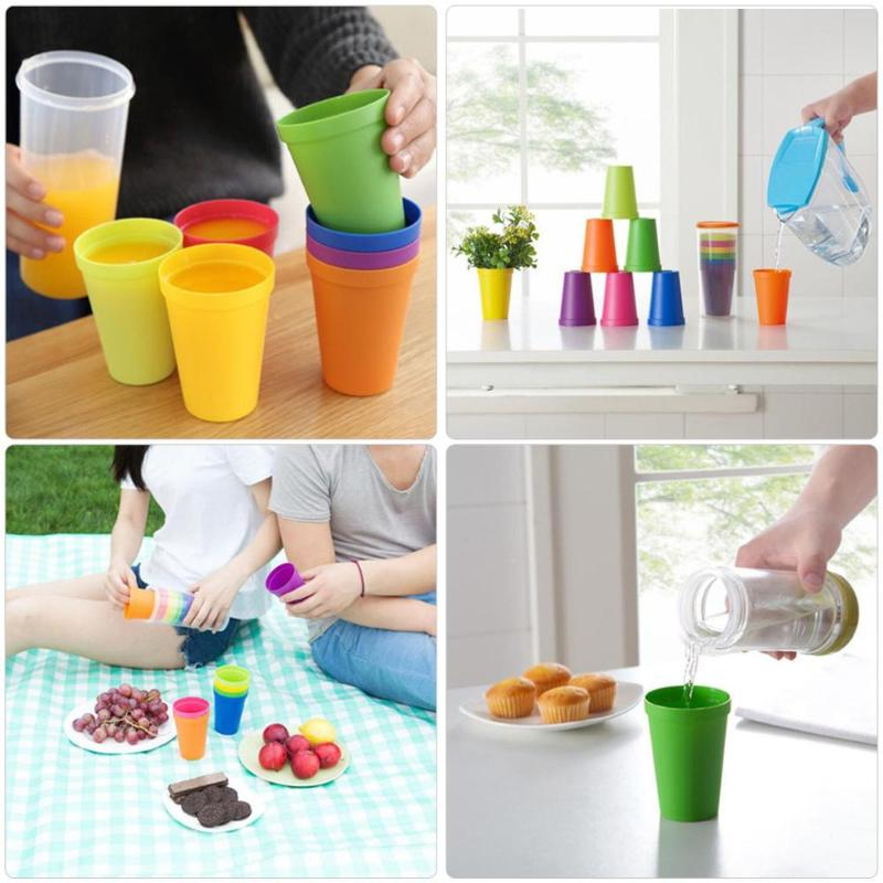 7PCS Colorful Rainbow <font><b>Set</b></font> <font><b>Cup</b></font> Picnic Travel Portable Color Plastic <font><b>Cups</b></font> Barbecue Camping Festival Birthday <font><b>Cups</b></font> Tea <font><b>Cup</b></font> <font><b>Set</b></font> image