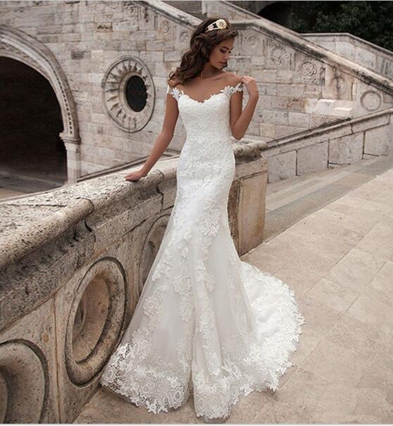 Vestido De Noiva See Through Back Lace Mermaid Party Custom-made Trumpet Gown Wedding Dresses