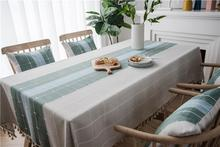 50 Plaid Decorative Linen Tablecloth With Tassel Waterproof Oilproof Thicken Rectangular Wedding Dining Tea Table Cloth