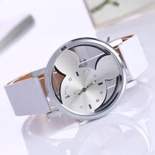 Moda MicMouse zegarek dla dzieci chłopiec dziewczyna prezent dla dzieci Cartoon zegarki na rękę puste szkło skórzane zegarki damskie tanie tanio dongba 3Bar Moda casual QUARTZ Ze stopu Klamra CN (pochodzenie) 24inch Nie pakiet 36mm B5501 ROUND 18mm Odporny na wstrząsy