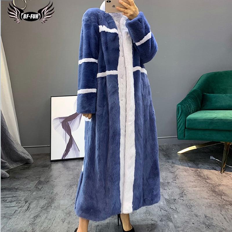 110cm Long Winter Luxury Real Mink Fur Coats For Women Wholeskin Thick Warm Genuine Mink Fur Jacket Stand Collar Overcoat 2019