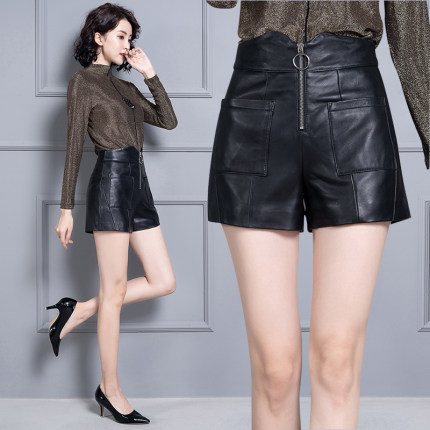 2020 Women New Real Genuine Sheep Leather Shorts KS70