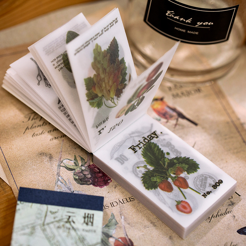100sheets/lot Memo Pads Sticky Notes Vintage Plant Paper Old And Series Scrapbooking Stickers Office School Stationery