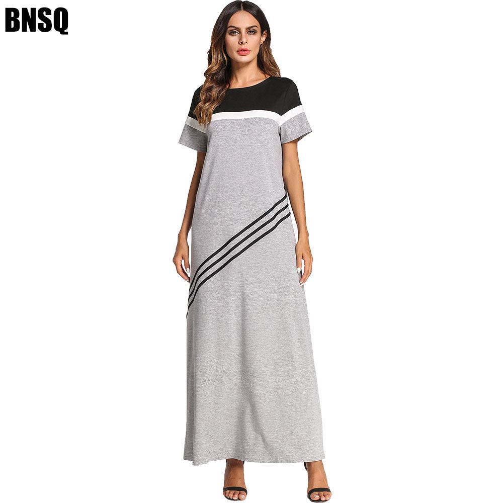 BNSQ Summer Short-Sleeved Multi-Color Stitching Dress