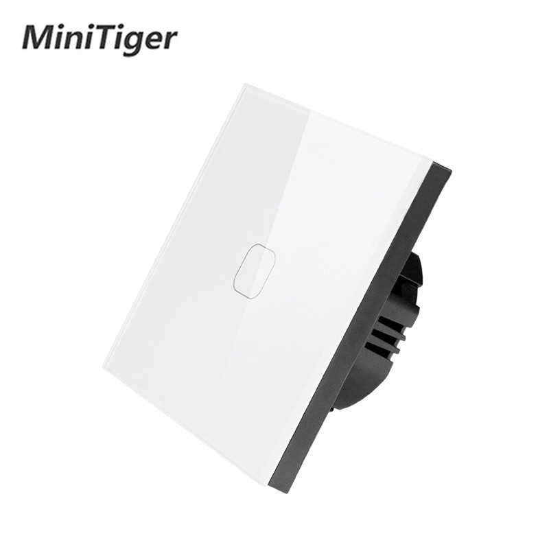 MiniTiger האיחוד האירופי/בריטניה סטנדרטי, 1 כנופיית 1 דרך קיר מגע מתג, לבן קריסטל זכוכית מתג פנל, 220-250 V, רק מגע פונקציה