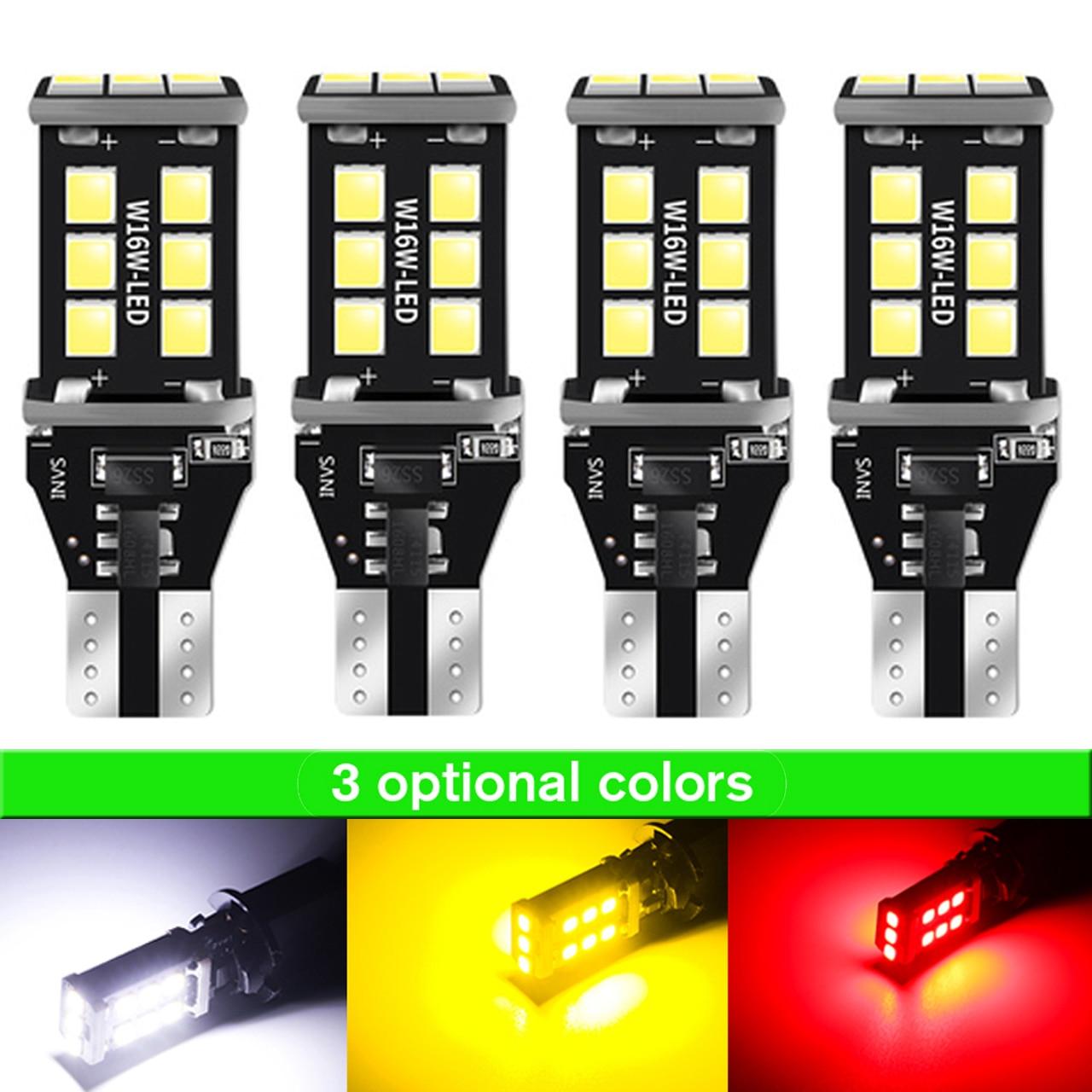 4pcs  T15 W16W LED 15SMD 2835  Filament Light Bulbs 5W Turn Signal Tail Parking Reverse Lamp Indicator Lamp Red White Yellow