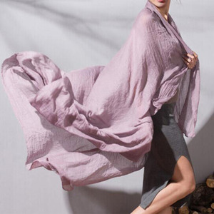 Image 1 - נשים מוצק צבע כותנה צעיף רך פשתן צעיף וכורכת סוכריות בצבע נשי צעיף מוסלמי ראש צעיפי חיג אב גלימות