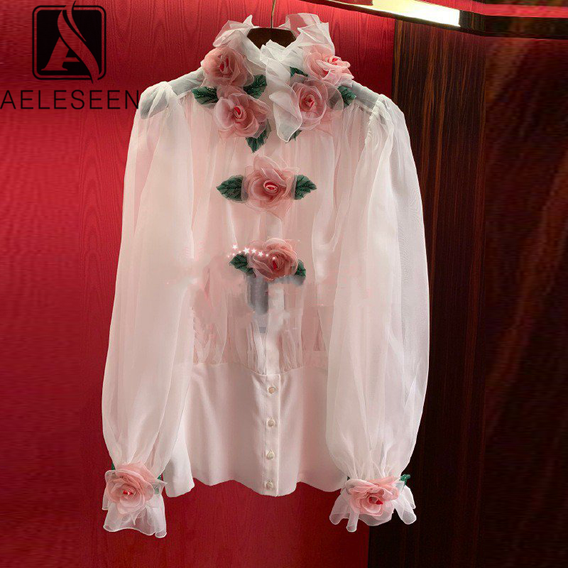 AELESEEN Runway Fashion Women Blouse 2020 Spring Summer 3D Rose Appliques Ruffles Party Holiday White Blouse