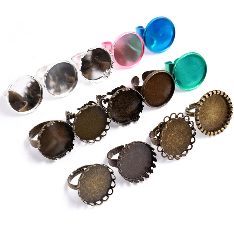 20mm 5pcs/Lot Bronze Silver Plated Brass Adjustable Ring Settings Blank/Base,Fit 20mm Glass Cabochons,Buttons;Ring Bezels