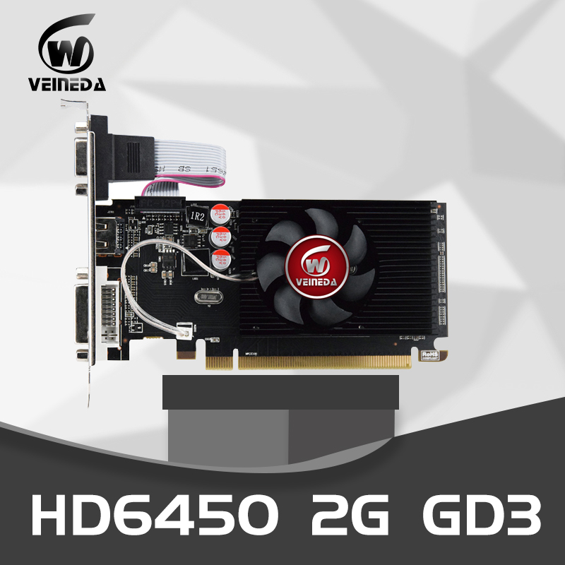 Veineda Graphics Cards Original GPU HD6450 2GB DDR3 64Bit HDMI VGA Video Cards PCI Express For ATI Radeon Gaming