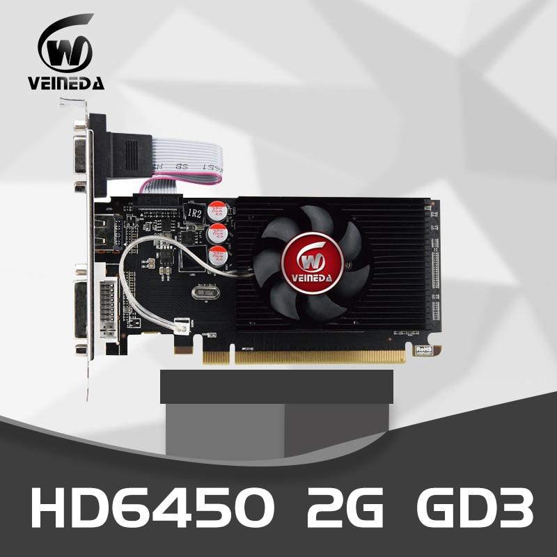 Видеокарта Veineda HD6450, Оригинальный графический процессор, 2 ГБ DDR3, 64 бит, VGA, PCI Express, для игр ATI Radeon