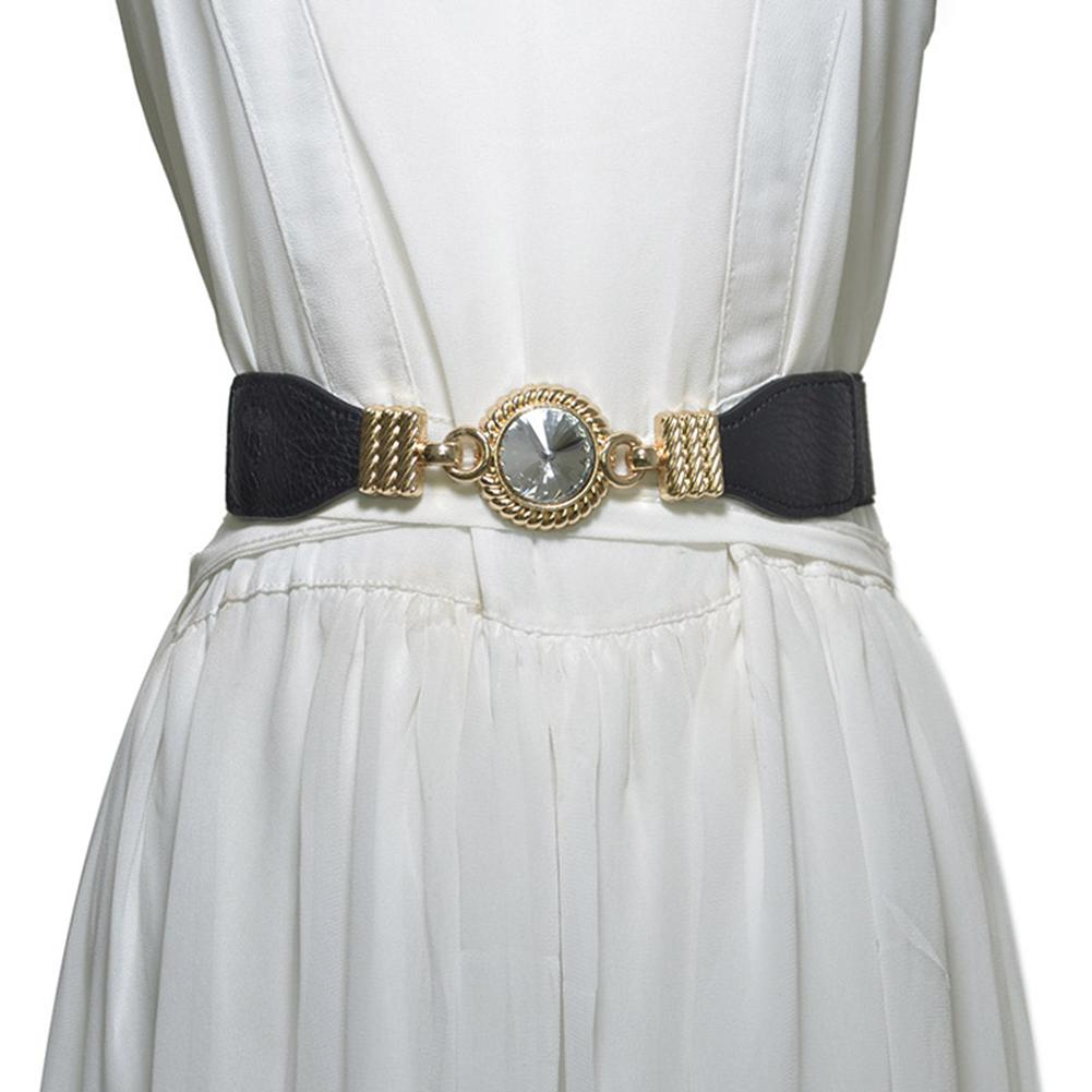 Fashion Round Rhinestone Elastic Waistband Women Dress Decor Waist Belt Strap