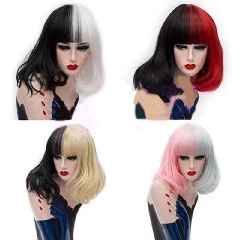 Image 4 - HAIRJOY perruque synthétique Double couleur pour femme  Perruque Cosplay moyenne lisse noire blanche, 4 Colos disponiblesPerruques synthétiques Cosplay   -