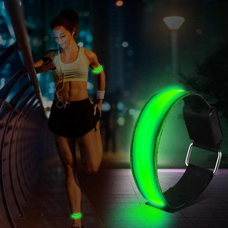 4pcs/lot Nylon Armbands Night Safety Unisex Sports LED Luminous Wristband Outdoor Sport Accessories Arm Belt Band Hand Strap