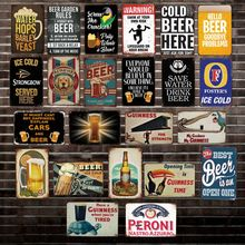 [ DecorMan ] ICE COLD BEER Wall painting Custom wholesale Metal Plaque Bar PUB Decor LT-1775