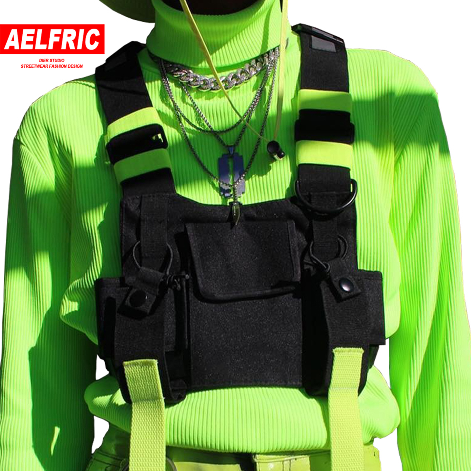 AELFRIC Chest Rig Bag Tactical Vest Harness Front Pack Pouch Holster 2019 Fashion Hip Hop Streetwear Functional Chest Waist Bag