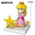 Персик Принцесса 2508 шт. супер микро Bros Звезда розовая мини-юбка для девочек «сделай сам» конструкторных блоков, Детские кубики, игрушки для ...