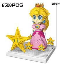 Pêssego princesa 2508 pçs super micro marioedly bros estrela rosa menina mini diy blocos de construção tijolos brinquedos para crianças presentes