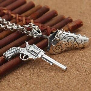 S925 Sterilng srebrny pistolet ręczny kreatywny wisiorek entuzjastów broni palnej prawdziwy srebrny moda Hip Hop biżuteria naszyjnik wisiorek