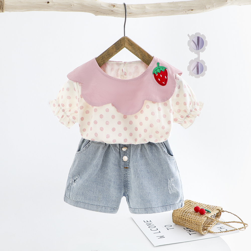 Toddler Girls Clothing Set Summer Baby Cotton Dot Children Kids Clothes Sets 2pcs Children Holiday Costume 1 2 3 4 Year Gift