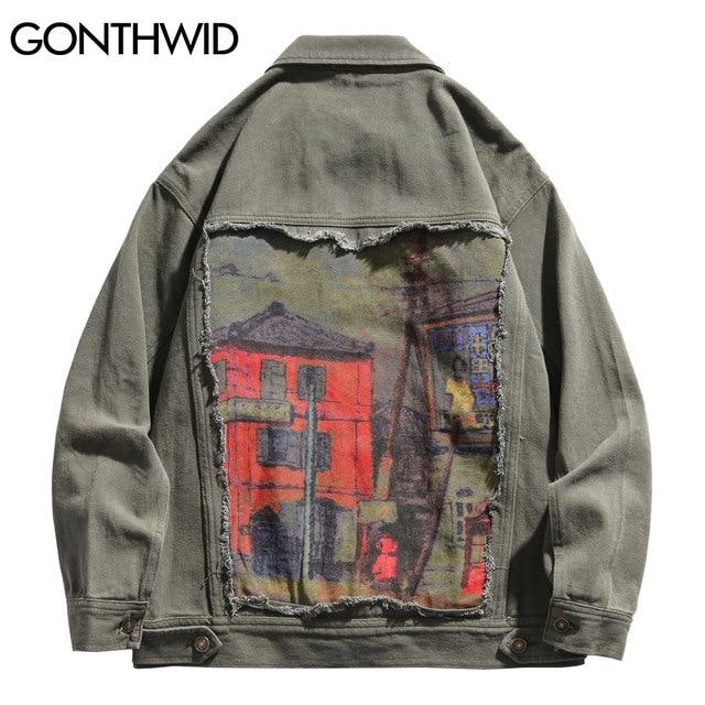 GONTHWID House Print Patchwork Denim Jackets Streetwear Mens Hip Hop Harajuku Casual Jeans Jacket Coats Harajuku Fashion Tops 1