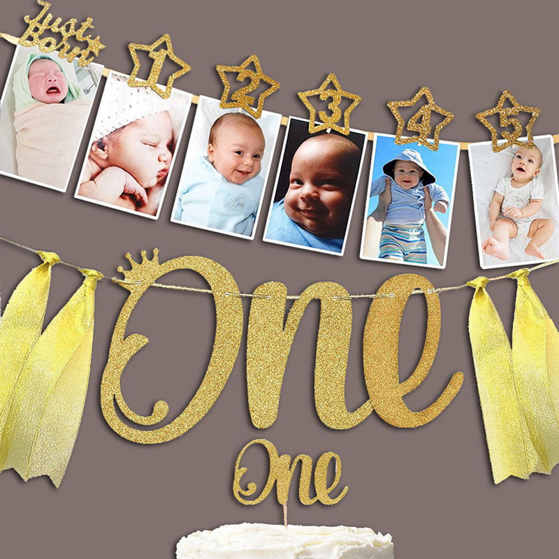 2019 Newest 1set 0-12 Month Baby Photo Banner With Clip Baby Shower Gold Banner 1st Birthday Party Decorations Cartoon Hat
