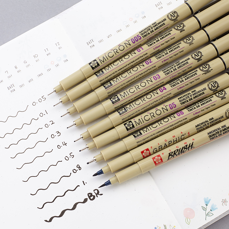 Manga liner Marker Brush Pen Drawing Caneta Pen 005(0.2MM) ,01(0.25MM),02 03 04 05 08 1.0 Brush Art Fountain Pen MKB003C image