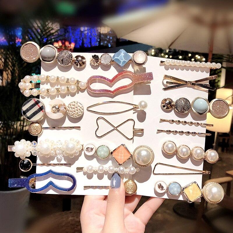 4Pcs/Set Korean Acetate Geometric Pearls Hair Clips for Girls Women Sweet Hairpins Barrettes Fashion Hair Accessories