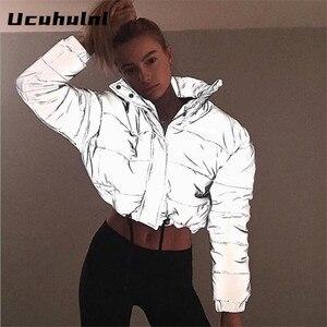Image 1 - Fashion flash reflective women padded jacket short tops warm 2019 autumn winter solid zipper oversize loose outwear coats casual