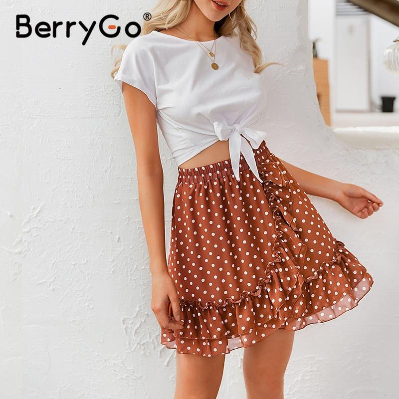 BerryGo Elegant polka dot print mini skirts womens A-line ruffled female skirt 2020 Spring summer holiday beach skirts ladies 12