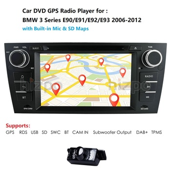 7Double 2Din Car Stereo DVD Player Navigation for BMW E90/E91/E92/E93 GPS,BT,DAB,USB,SD,DTV SWC RDS AM/FM CAM MirrorLink map CD image