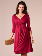 Deep V-neck Pregnant Woman Evening Dress knitting A-Line Party Dress Tea-Length Simple Formal Dress Half-Sleeve Cotton Prom Dres v neck half sleeve tea length dress